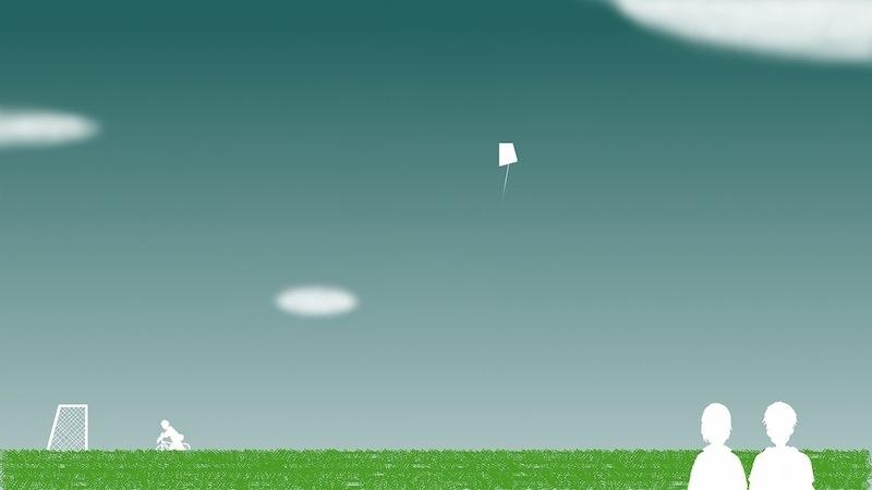 誰かが凧を飛ばしてる
