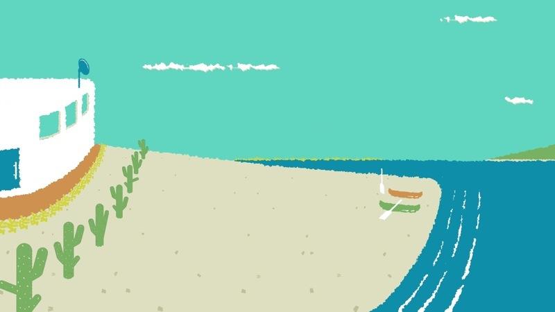 海を臨む家